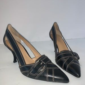 Franco Sarto Black Leather Kitten Heel Pump Sz 7.5